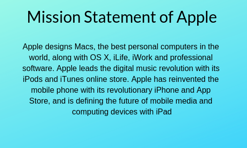 Mission statement of Apple