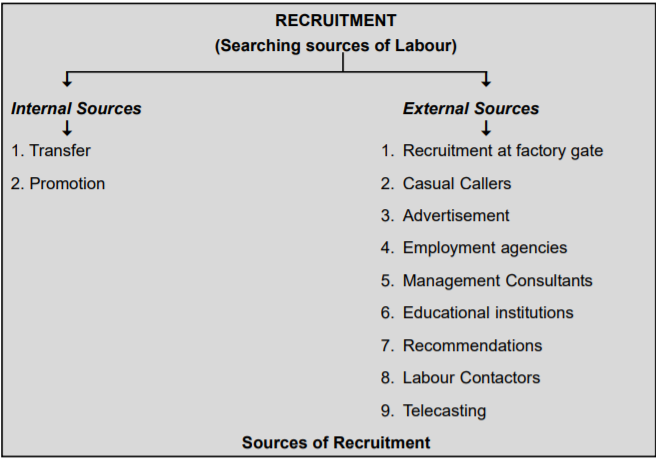 Recruitment Process : HRM, External and Internal Sources
