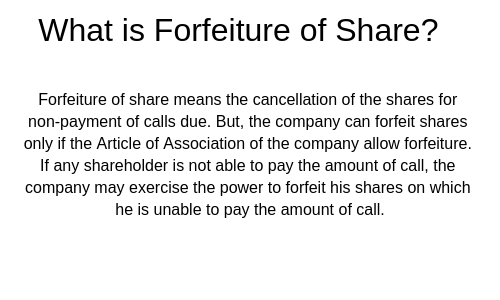 Forfeiture of Share