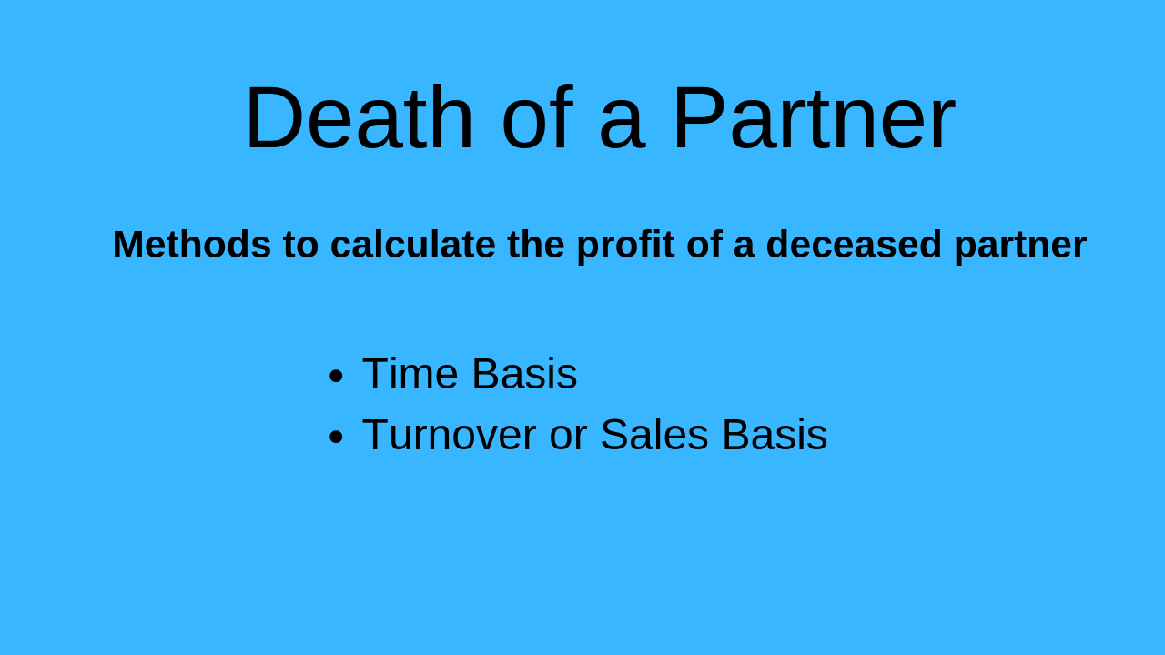 Death of a Partner: Methods for Adjustment of Partners Capital