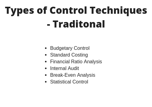 Types of Control in Management: Traditional Control Technique