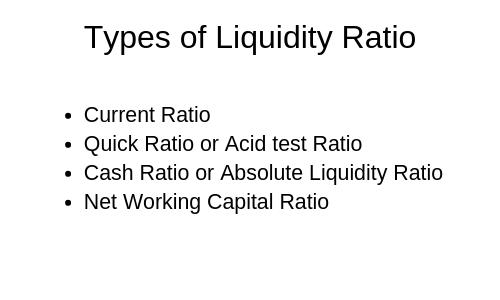 Current ratio and liquidity ratio