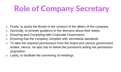 Role of Company Secretary