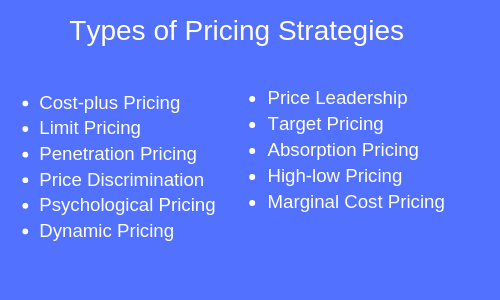 types of pricing strategies