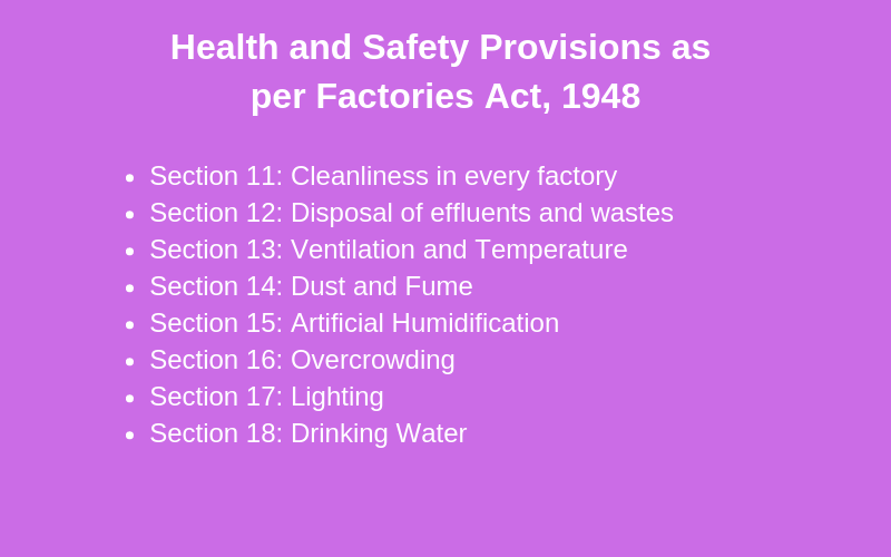 Health measures and safety provisions factories act