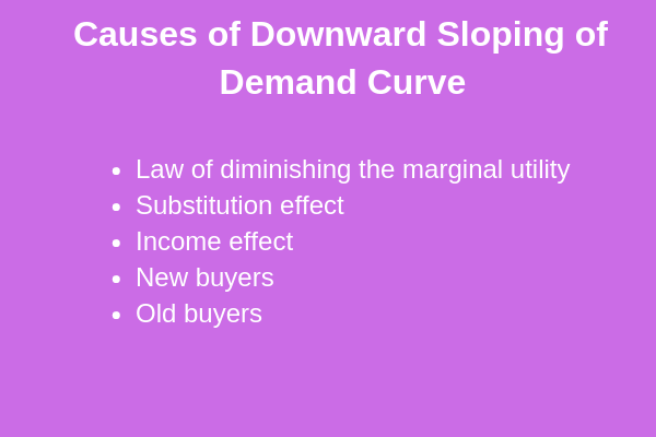 causes of downward sloping of demand curve