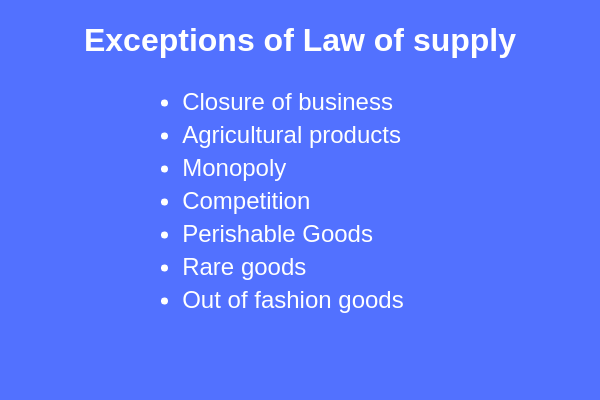 exceptions of law of supply