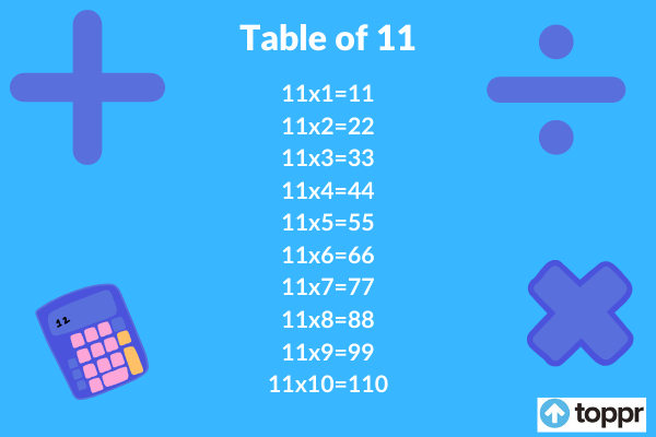 table of 11